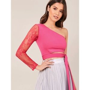 One Shoulder Lace Sleeve Top